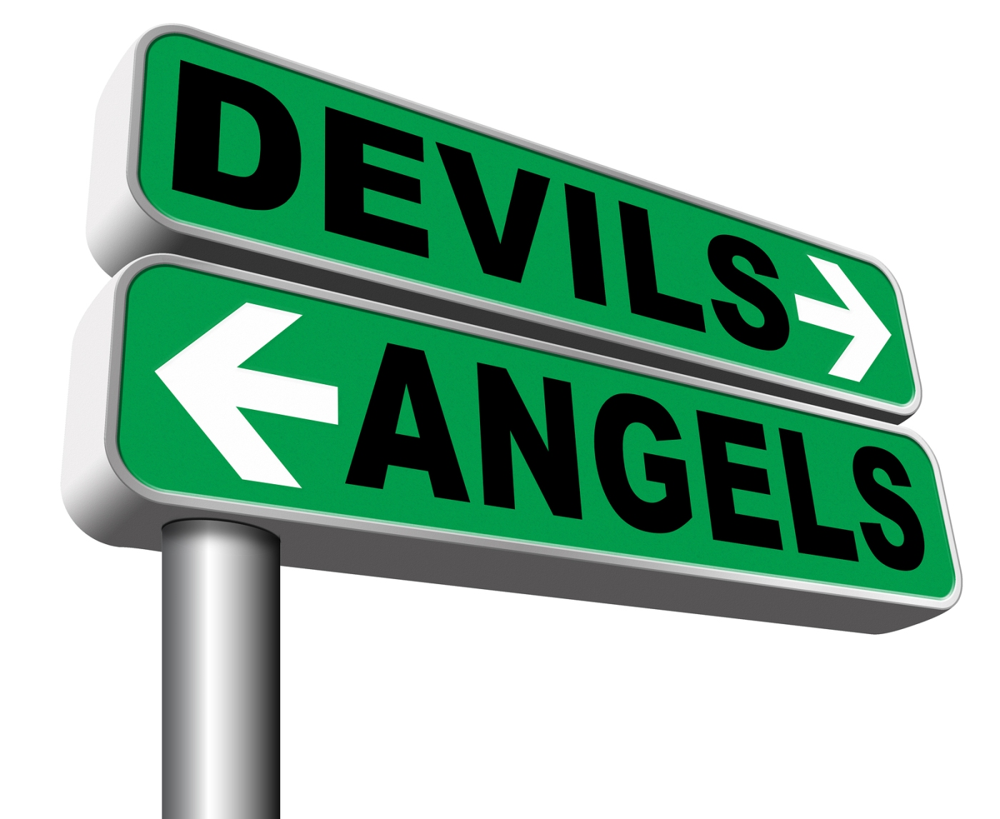 devil and angel good or evil bad heaven and hell road sign arrow 3D illustration, isolated, on white